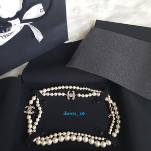 Chanel Crystal CC Graduated Pearl Necklace, Gold